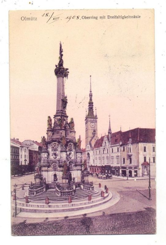 BÖHMEN & MÄHREN - OLMÜTZ / OLOMOUC, Oberring mit Dreifaltigkeitssäule, 1908