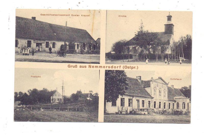 OSTPREUSSEN - NEMMERSDORF / MAJAKOWSKOJE, Kreis Königsberg, Geschäft Krause, Postamt, Kirche, Gutshaus