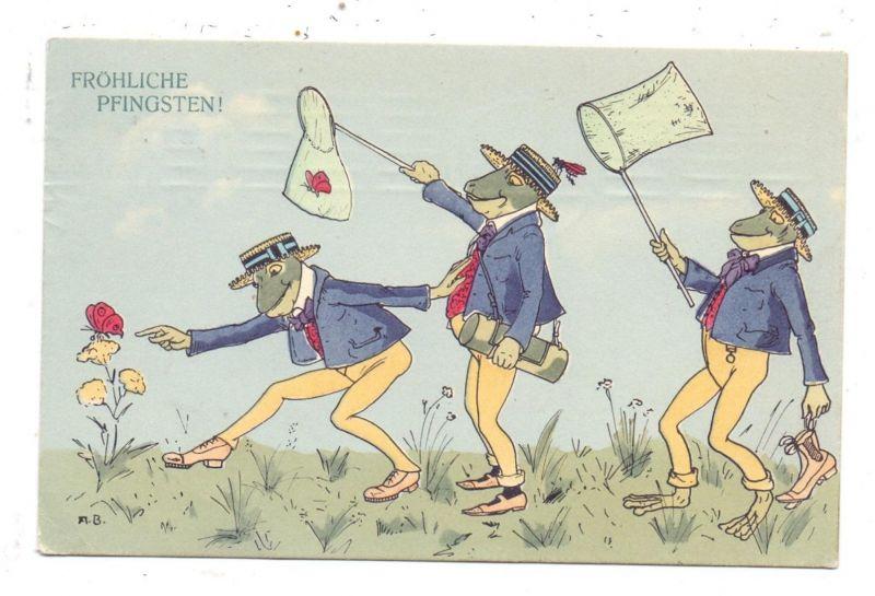 TIERE - FRÖSCHE / Frogs / Kicker / Grenouilles / Rane / Ranas - Frösche beim Schmetterlingsfang, 1911