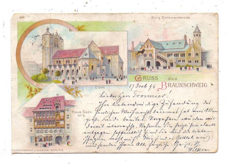 3300 BRAUNSCHWEIG, Lithographie, 1896, Haus Sack, Dom, Burg Dankwarderode, Eckmangel