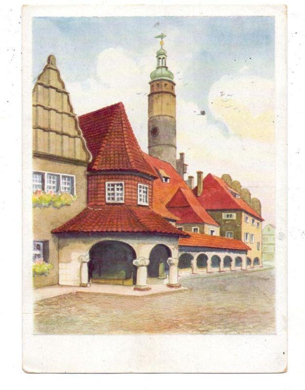 NIEDER-SCHLESIEN - LÖWENBERG / LWOWEK, Werbe-Karte HOHBERG BIER, Rathaus, Künstler-Karte