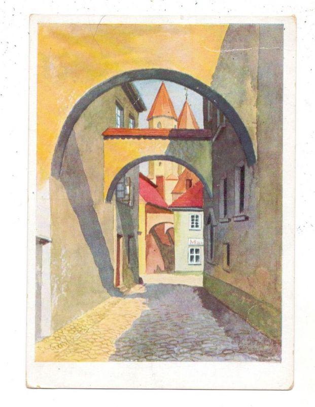 NIEDER-SCHLESIEN - LÖWENBERG / LWOWEK, Werbe-Karte HOHBERG BIER, Alte Schwibbogengasse, Künstler-Karte