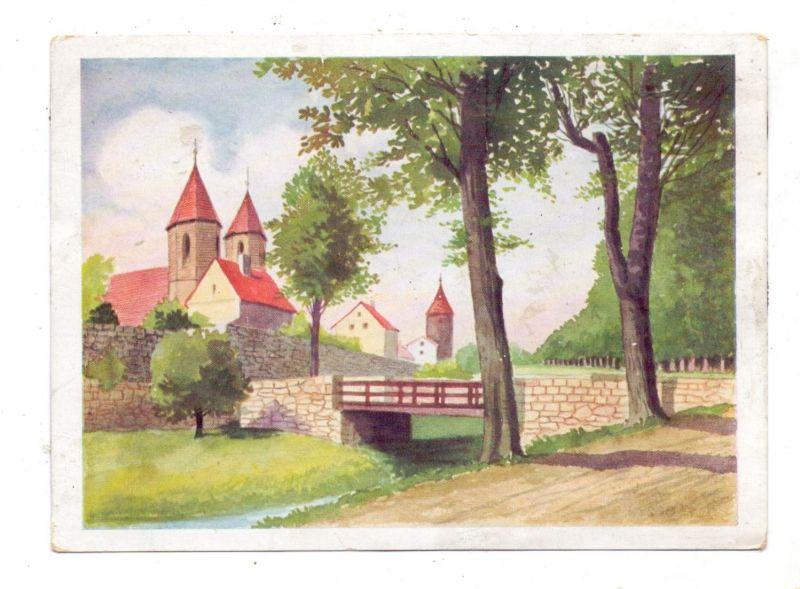 NIEDER-SCHLESIEN - LÖWENBERG / LWOWEK, Werbe-Karte HOHBERG BIER, Burggrabenbrücke, Künstler-Karte, Klebereste