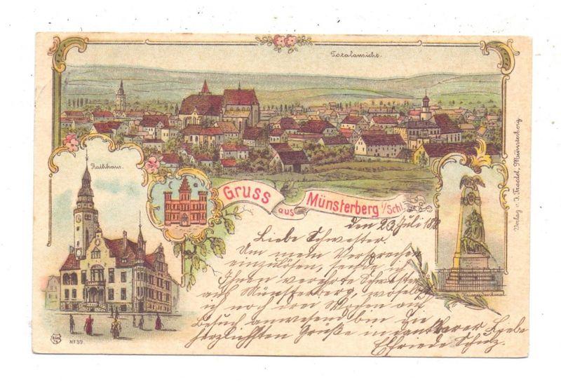 NIEDER-SCHLESIEN - MÜNSTERBERG / ZIEBICE, Lithographie 1898, Gruss aus...