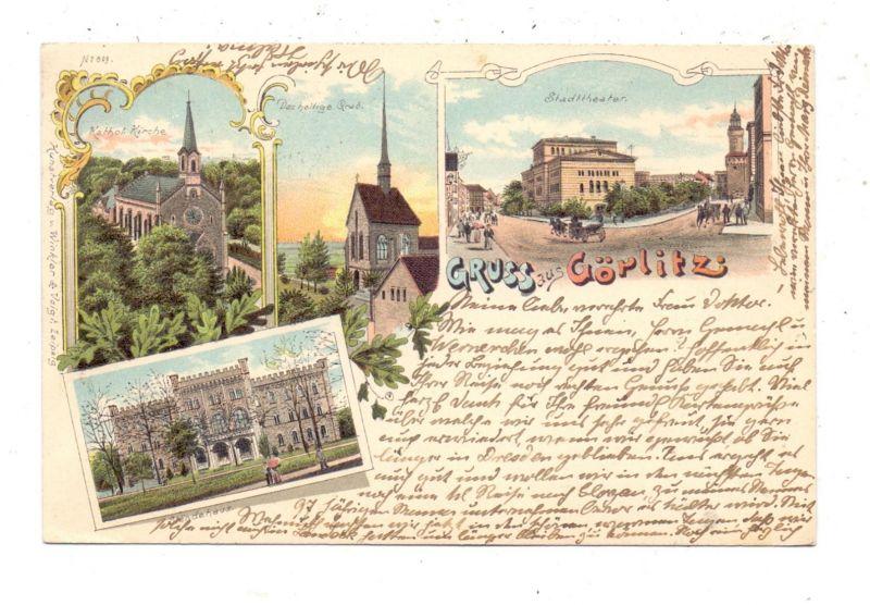 0-8900 GÖRLITZ, Lithographie 1897, Ständehaus, Stadttheater, Katholische Kirche, Das heilige Grab 0