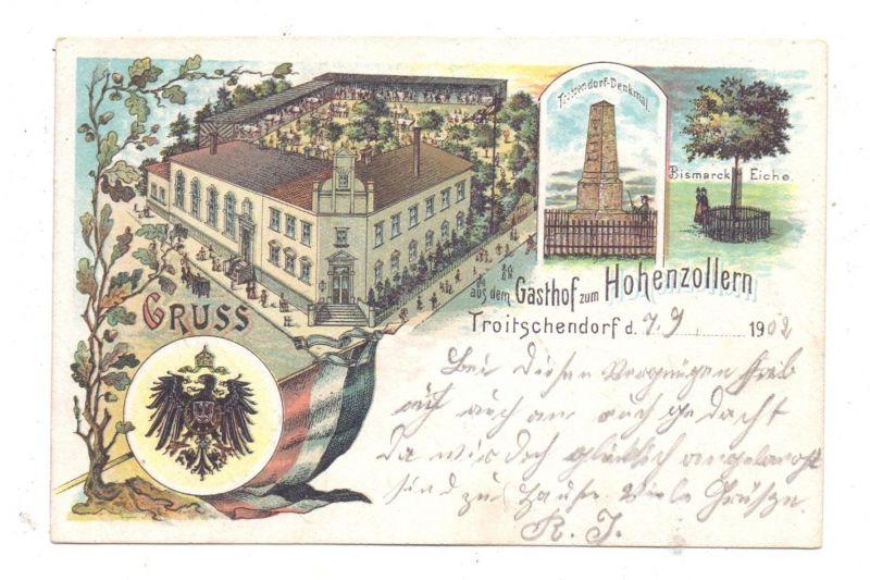 NIEDER-SCHLESIEN - TROITSCHENDORF / TROJCA, Lithographie, Gasthof zum Hohenzollern