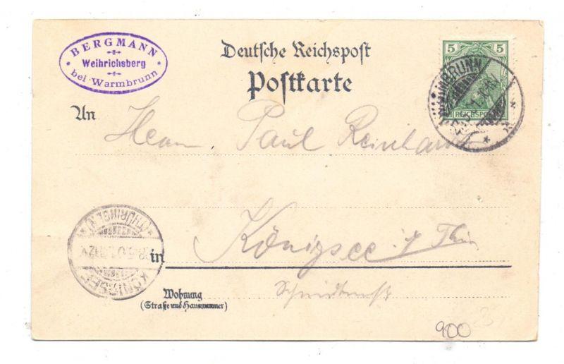 NIEDER-SCHLESIEN - BAD WARMBRUNN-WEIHRICHSBERG / CIEPLICE, Lithographie, Restauration auf dem Weihrichsberg 1