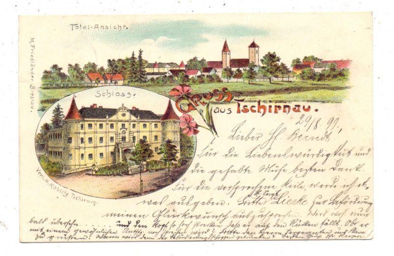NIEDER-SCHLESIEN - GUHRAU-TSCHIRNAU / GORA-CERNINA, Lithographie 1899, Schloss & Dorfansicht