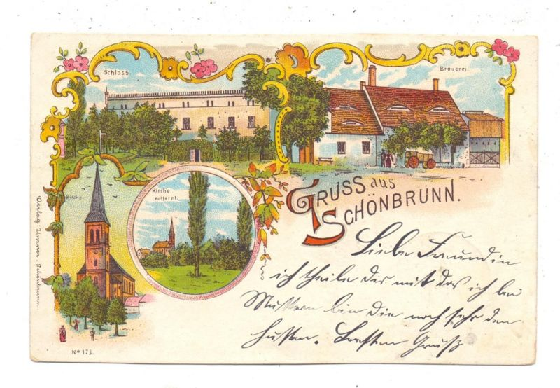 NIEDER-SCHLESIEN - SCHÖNBRUNN / STRUZYNA, Kreis Strehlen, Lithographie, Bier-Brauerei, Schloss, Kirche, Bahnpost 0