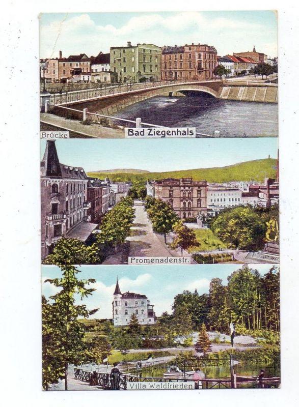 OBER-SCHLESIEN - BAD ZIEGENHALS / GLUCHOLAZY, Promenadenstrasse, Brücke, Villa Waldfrieden, 1911, Bahnpost, Eckknick