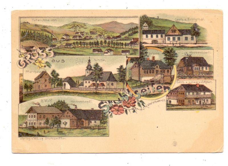 NIEDER-SCHLESIEN - STUHLSEIFFEN / RUDAWA, Lithographie, Gasthaus zum Erlitzthal, Gasthaus zum Schwarzen Adler...