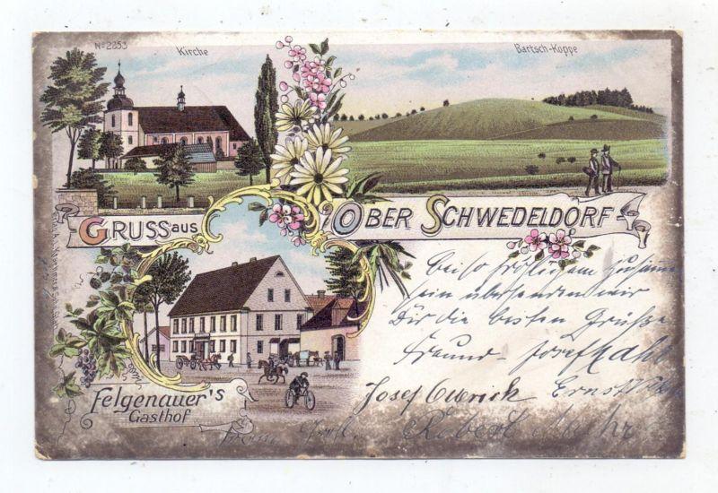 NIEDER-SCHLESIEN - PETERWITZ - SCHWEDELDORF / SZALEJOW GORNY, Lithographie, Felgenauer's Gasthof, Kirche...