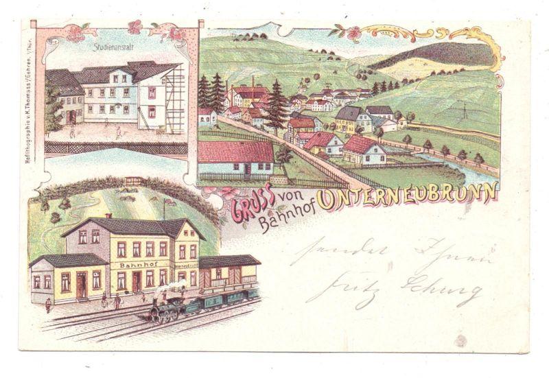 0-6114 SCHLEUSEGRUND - UNTERNEUBRUNN, Lithographie, Gruss vom Bahnhof .., Studienanstalt, Dorfansicht 0