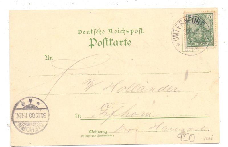 0-6114 SCHLEUSEGRUND - UNTERNEUBRUNN, Lithographie, Gruss vom Bahnhof .., Studienanstalt, Dorfansicht 1