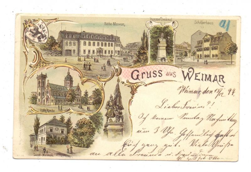 0-5300 WEIMAR Lithographie 1897, 6 Ansichten, rücks. Klebereste