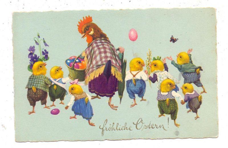 OSTERN - Henne mit Eierkorb und vermenschlichten Küken