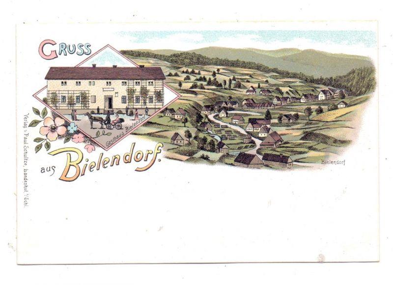 NIEDER-SCHLESIEN - BIELENDORF / BIELICE, LithographieGasthaus Bielendorf, Dorfansicht