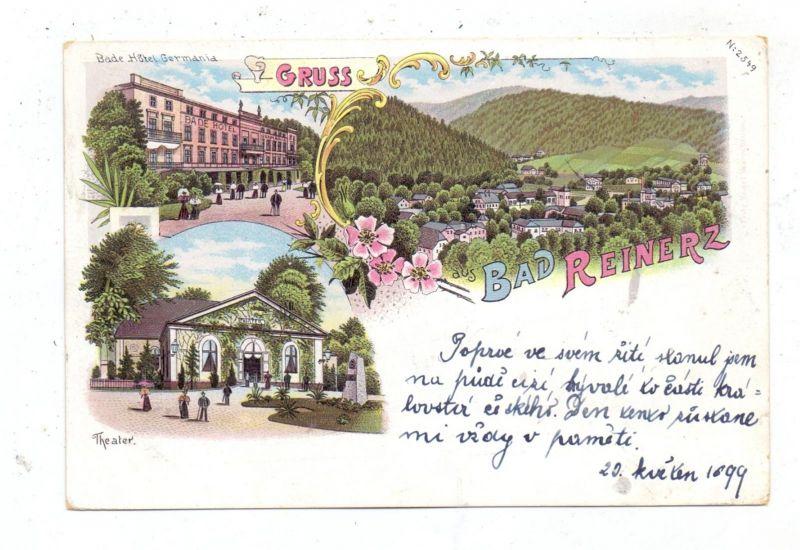 NIEDER-SCHLESIEN - BAD REINERZ / DUSZNIKI ZDROJ, Lithographie 1899, Hotel Germania, Theater, Gesamtansicht