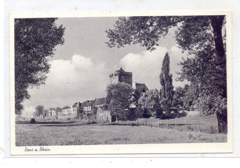 4047 DORMAGEN - ZONS, Blick von den Rheinwiesen, 1954