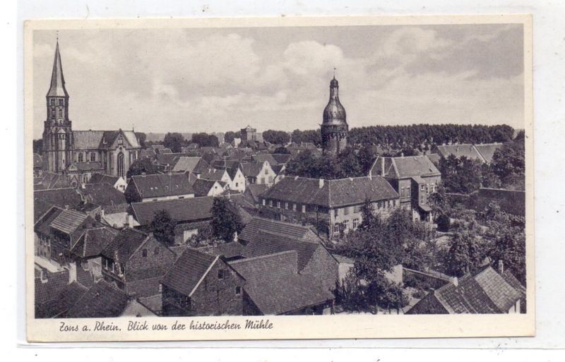 4047 DORMAGEN - ZONS, Blick von der historischen Mühle, 195..., rücks. kleine Klebereste