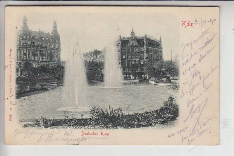 5000 KÖLN, Deutscher Ring, 1900, Fontänen, RELIEF-Karte, Verlag: Stengel-Dresden 0