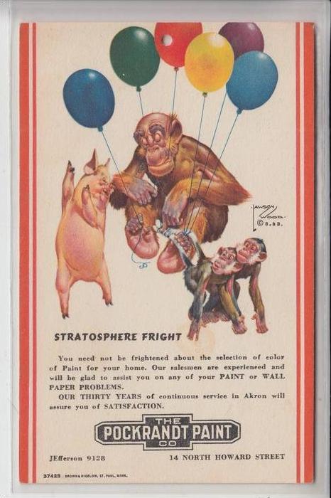 KÜNSTLER - ARTIST - WOOD, LAWSON, Advertising Pockrandt Paint Co., Stratosphere Fright