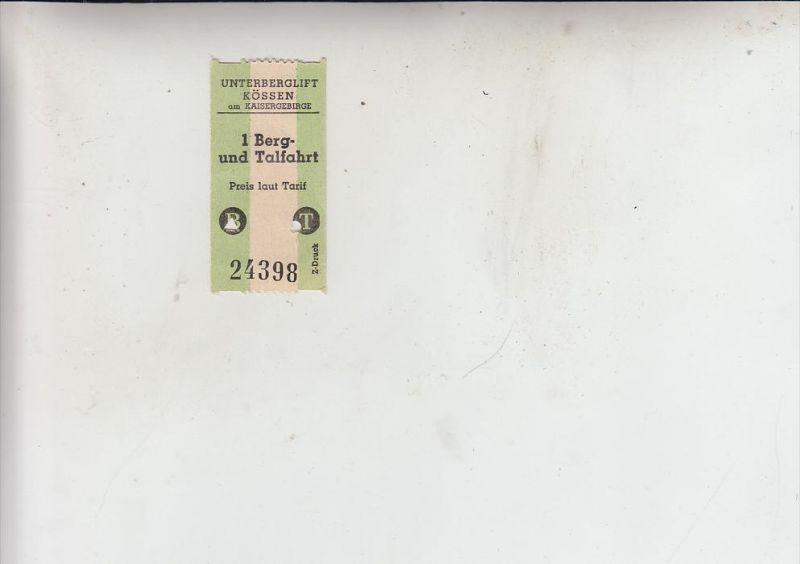 A 6345 KÖSSEN, Fahrkarte 1 Berg- und Talfahrt, wahrscheinlich 50er Jahre