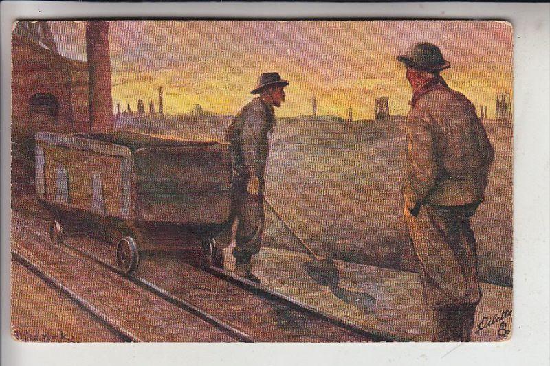 BERGBAU / Mining / Mijnbouw / Charbonage / Minerario - Künstler-Karte, 1919