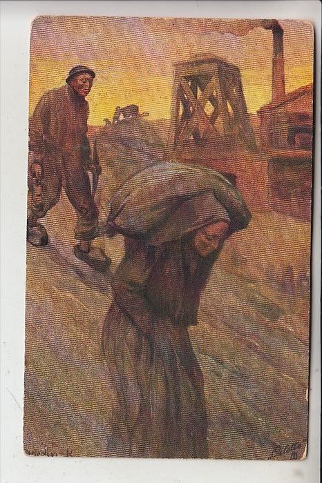 BERGBAU / Mining / Mijnbouw / Charbonage / Minerario - Künstler-Karte, 1919,