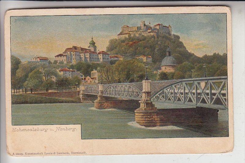 A 5000 SALZBURG, Hohensalzburg & Nonberg, frühe Karte - ungeteilte Rückseite