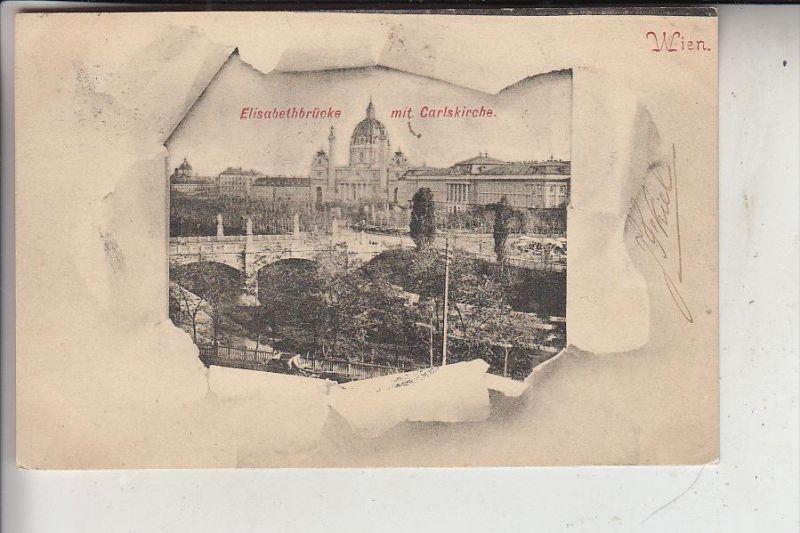 A 1000 WIEN, Elisabethkirche mit Carlskirche, 1902