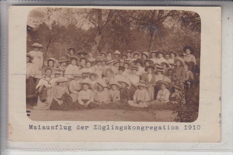 A 4000 LINZ, Maiausflug der Zöglingskongregation, 1910, Photo-AK