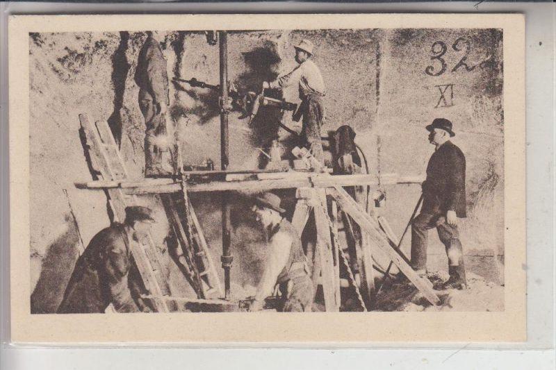 BERGBAU - Mining, Salzbergwerk Wieliczka, Schrämm-Maschine, Incising-machine,