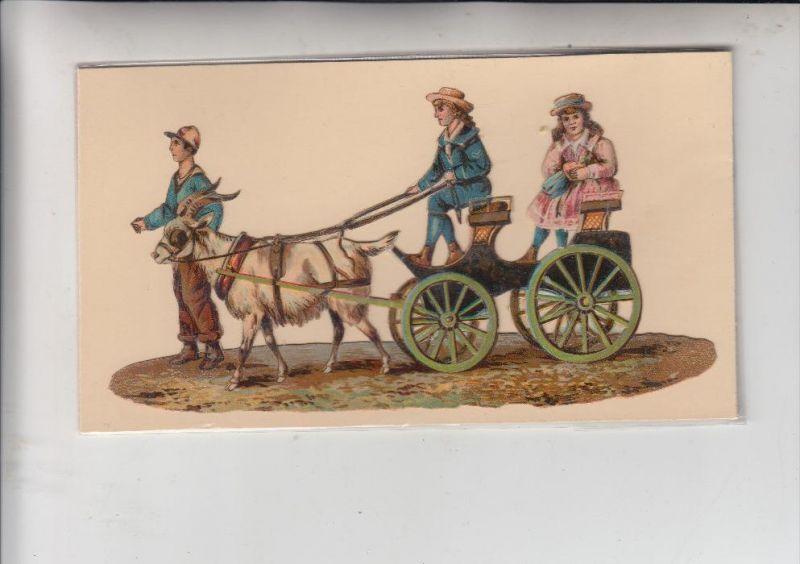 TIERE - ZIEGEN / Goats / Geiten / Chevre, Ziegenkutsche, Oblate 16 x 8,5 cm