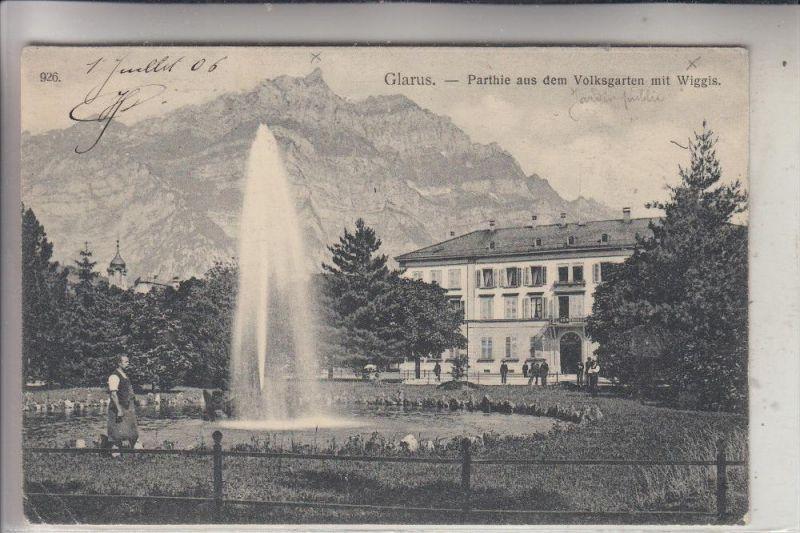 CH 8750 GLARUS, Volksgarten mit Wiggis, 1906