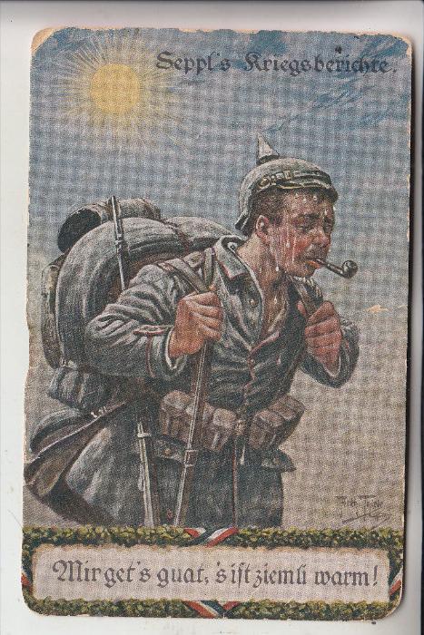 KÜNSTLER - ARTIST - ARTHUR THIELE, Seppl's Kriegsberichte, Einriss, schwache Erhaltung, Feldpost 1.Weltkrieg
