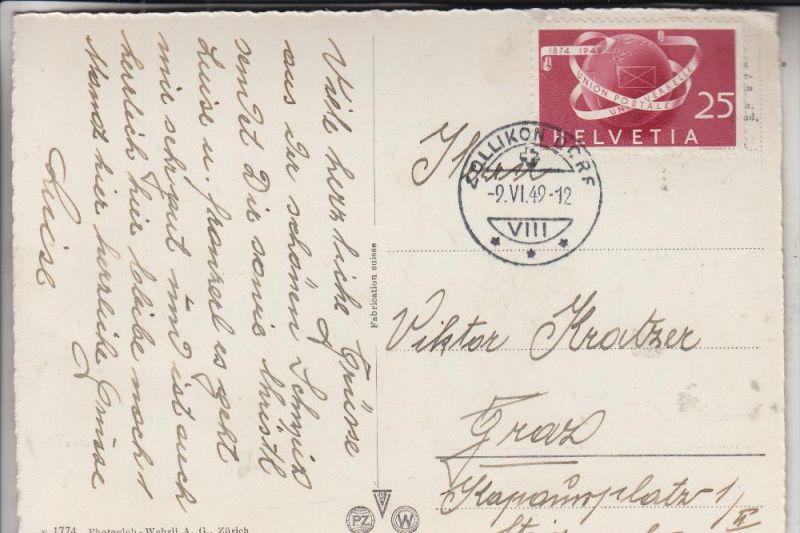 SCHWEIZ, 1949, Zumstein 295, Michel 523, Einzelfrankatur Zollikon - Graz, 9.VI.49