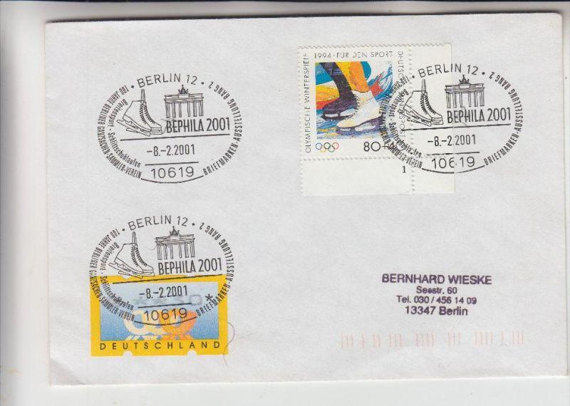 SPORT - SCHLITTSCHUHLAUFEN / Skating / Patinage  / Pattinaggio / Schaatsen - Sonderstempel & - Briefmarke, 2001