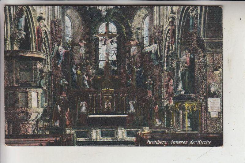 5400 KOBLENZ - ARENBERG, Inneres der Kirche, 1917