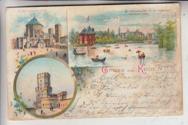 5000 KÖLN, Lithographie 1899, St.Gereonskirche, Bayenthurm, Volksgarten