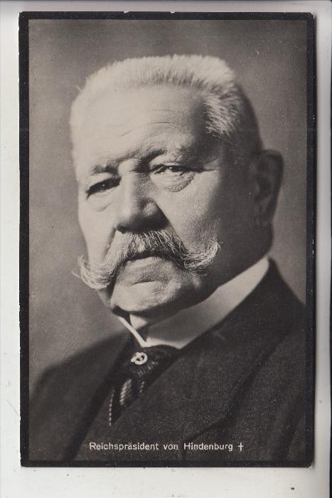 BERÜHMTE PERSONEN, von Hindenburg, Trauerkarte