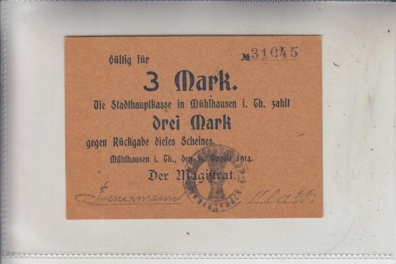 NOTGELD - MÜHLHAUSEN / Thüringen, 3 Mark, 1914, Erhaltung I