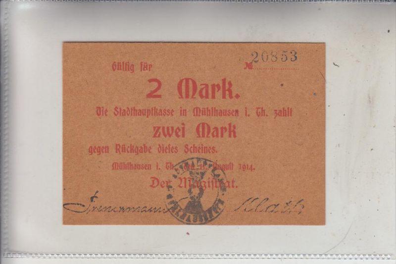 NOTGELD - MÜHLHAUSEN / Thüringen, 2 Mark, 1914, Erhaltung I