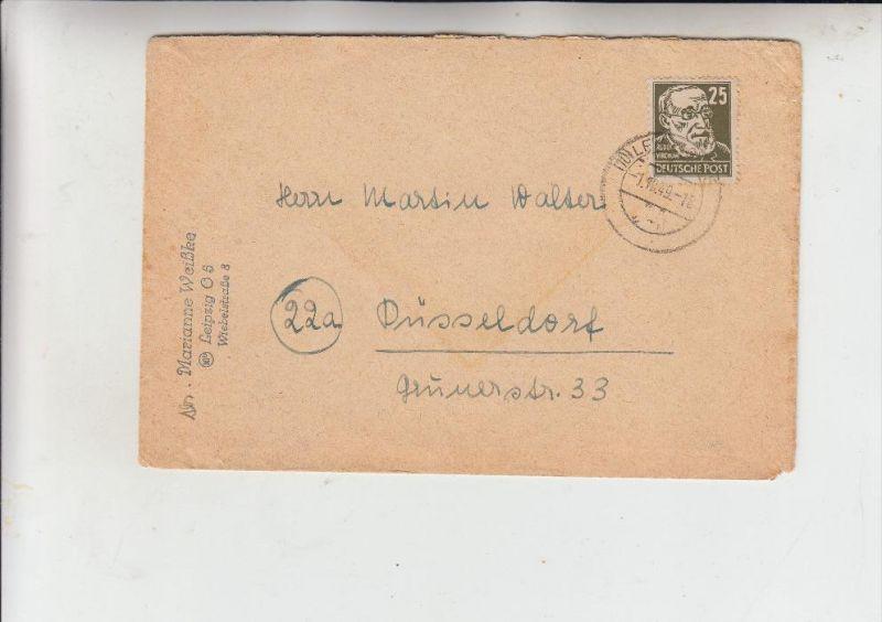 SOWJETISCHE ZONE - Michel 221, 25 Pf. Virchow, Einzelfrankatur 1.10.49 von Leipzig nach Düsseldorf