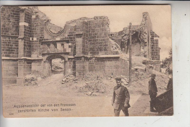 F 55230 SENON, Zerstörte Kirche, 1.Weltkrieg, Deutsche Feldpost, 1916