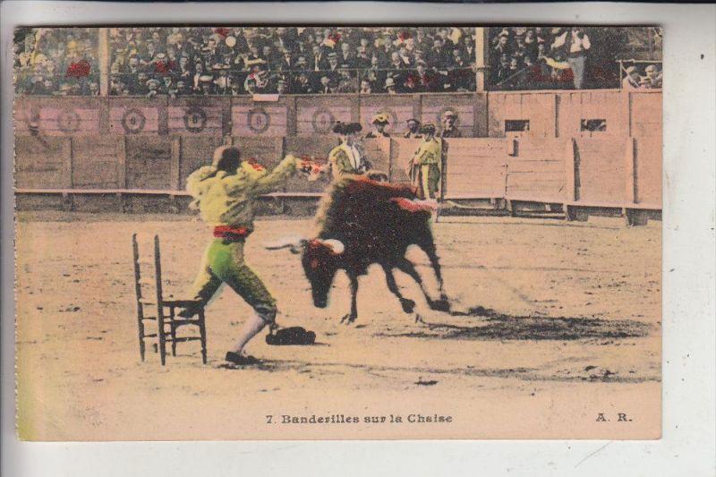 STIERKAMPF - BULL FIGHT - TAUROMACHIE / TOURADA, Banderilles sur le Chaise, 1932
