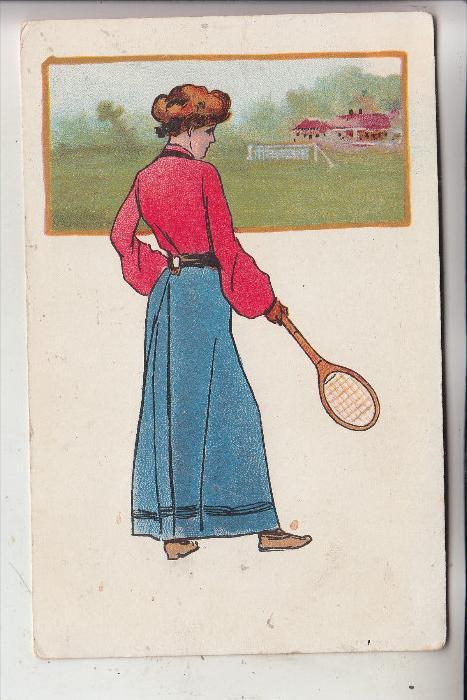 SPORT - TENNIS, Künstler-Karte Tennisspielerin