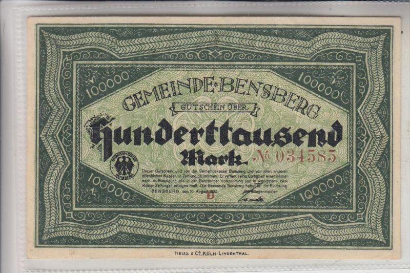 5060 BERGISCH GLADBACH - BENSBERG, Notgeld 100000 Mark, 1923, gute Erhaltung