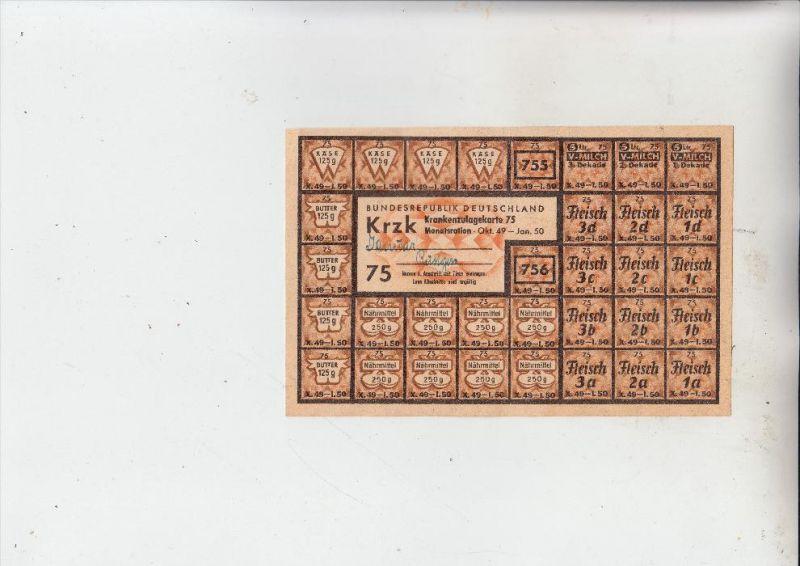 LEBENSMITTELKARTE DEUTSCHLAND, Krankenzulagekarte Okt. 1949, komplett - gute Erhaltung