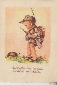 KINDER - Künstler-Karte, Der kleine Jäger, Maikäfer, 1948